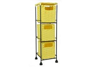 Drátěná police Vingo s vloženými žlutými boxíky