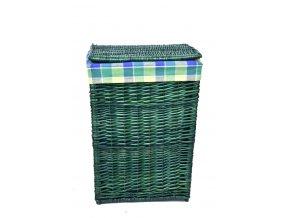 Hranatý proutěný koš na prádlo lahvově zelené barvy