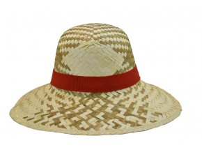 Dámský letní slaměný klobouk s červenou stuhou