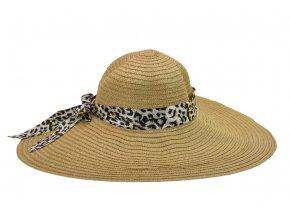 16239 damsky letni klobouk svetle hnede barvy s tygrovanou masli