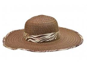 16242 damsky letni klobouk hnedy se stuhou a obsitim s motivy zebry