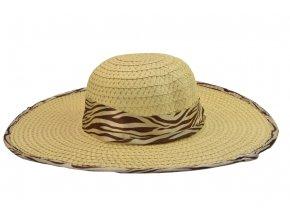Dámský letní klobouk slámové barvy se stuhou a obšitím s motivy zebry