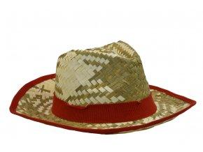 Pánský slaměný letní klobouk s červeným lemem
