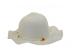 Dětský slaměný klobouk v bílé barvě