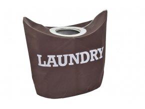 Hnědý textilní koš na prádlo LAUNDRY