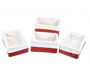 Sada 4 úložných boxů červených