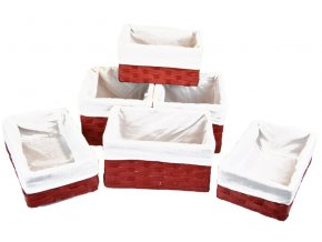 Sada 6 úložných boxů červených