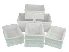 Sada 6 úložných boxů bílých