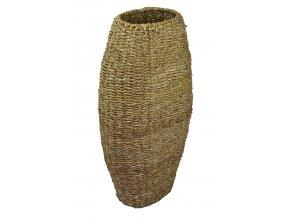 Vysoká oválná váza Vingo upletená z mořské trávy, vystužená drátěnou konstrukcí - pohled na vázu z boku