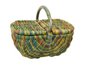 Ratanový koš na piknik barevný