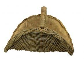Ratanový koš na krbové dřevo vějíř s pytlovinou
