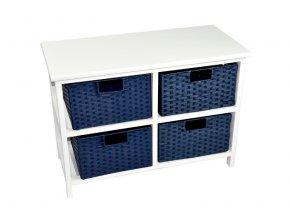 Bílá komoda Vingo s modrými košíčky z provázku