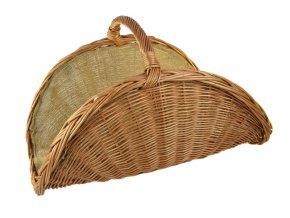 Světlý proutěný koš na dřevo vějíř s pytlovinou