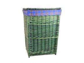 Zelený proutěný koš na prádlo s modrou látkou