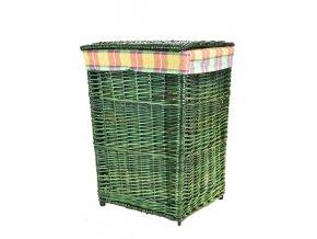 Zelený proutěný koš na prádlo s oranžovou látkou