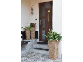 Sada 3 váz Vingo - model hranatá váza s pletením z mořské trávy - tip na umístění v eteriéru