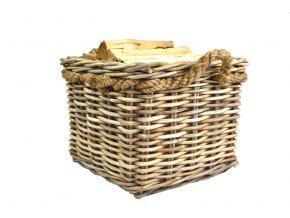 Ratanový koš na dřevo s lanovými uchy – čtverec