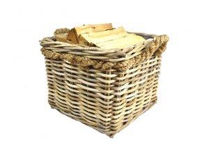 Ratanový koš na dřevo s lanovými uchy – čtverec (Rozměry (cm) 50x50, v. 40)