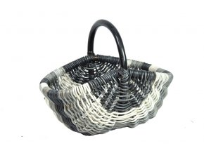 Ratanový nákupní košík šedo bílý