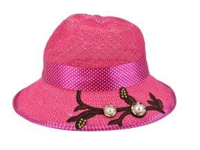 Dětský klobouk růžový s puntíkovanou mašlí