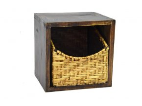 Dřevěná police s košíkem (Šířka x délka 66x16, v. 17)