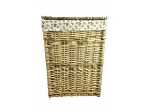 Hranatý proutěný koš na prádlo s šedohnědou patinou (Rozměry (cm) 38x28, v. 49)