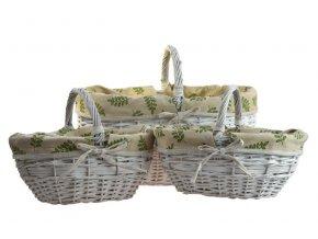 Proutěný bílý košík na nákup s látkou - přírodní motivy