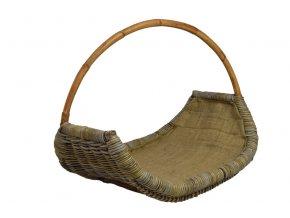 Ratanový koš na dřevo s uchem v zemitých tonech (Rozměry (cm) 54x40, v. 44, v. opletu 21)