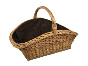 Proutěný koš na dřevo s tmavě hnědou textilií