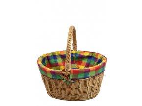 Proutěný košík na nákup s kostkovanou látkou