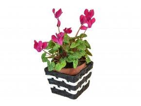 Květináč hranatý černo-bílý