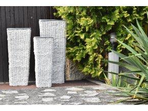 Sada 3 váz hranatých bílých (rozměry sada:    30x30x75/25x25x65/20x20x55)