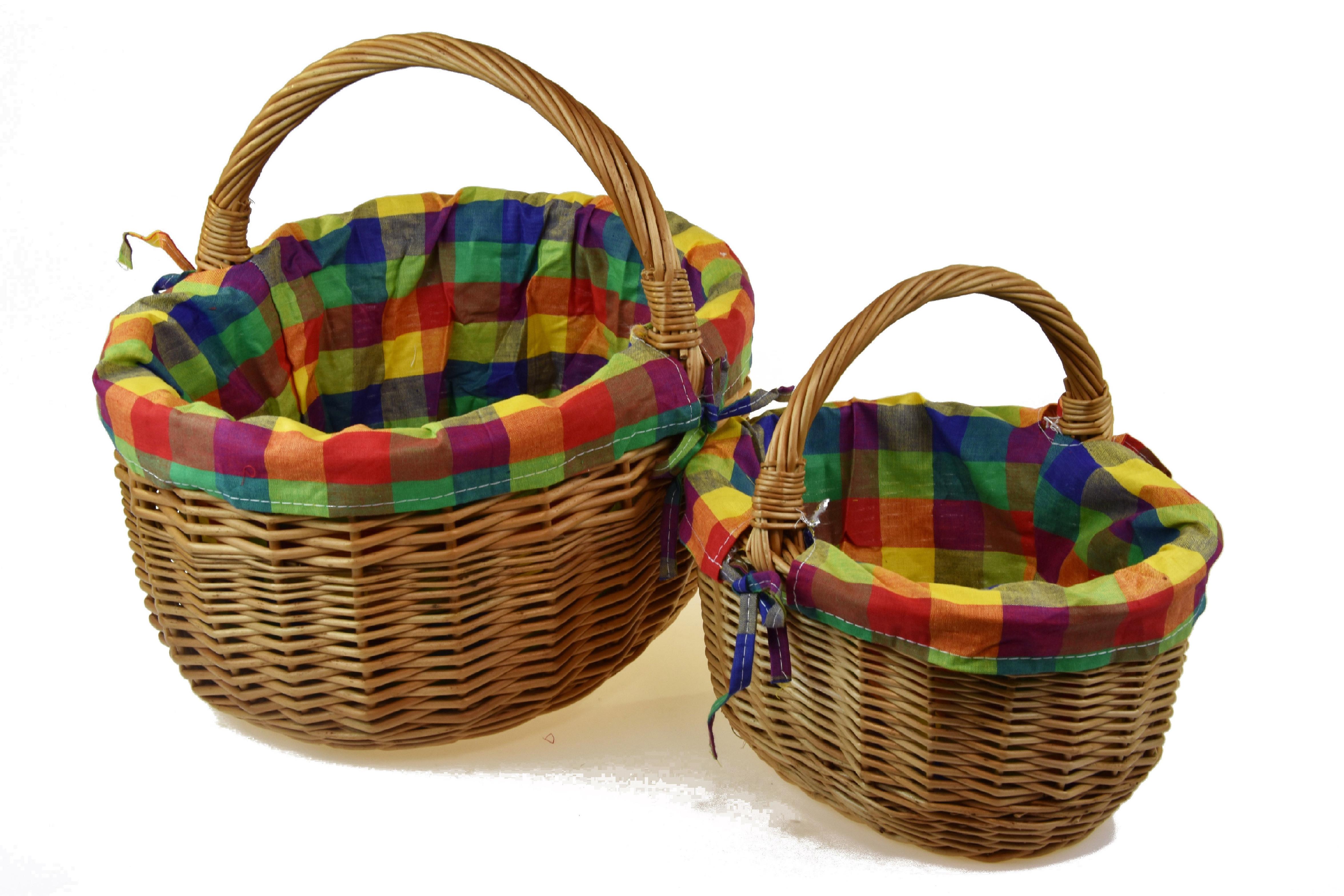 Proutěný košík s látkou Rozměry (cm): sada