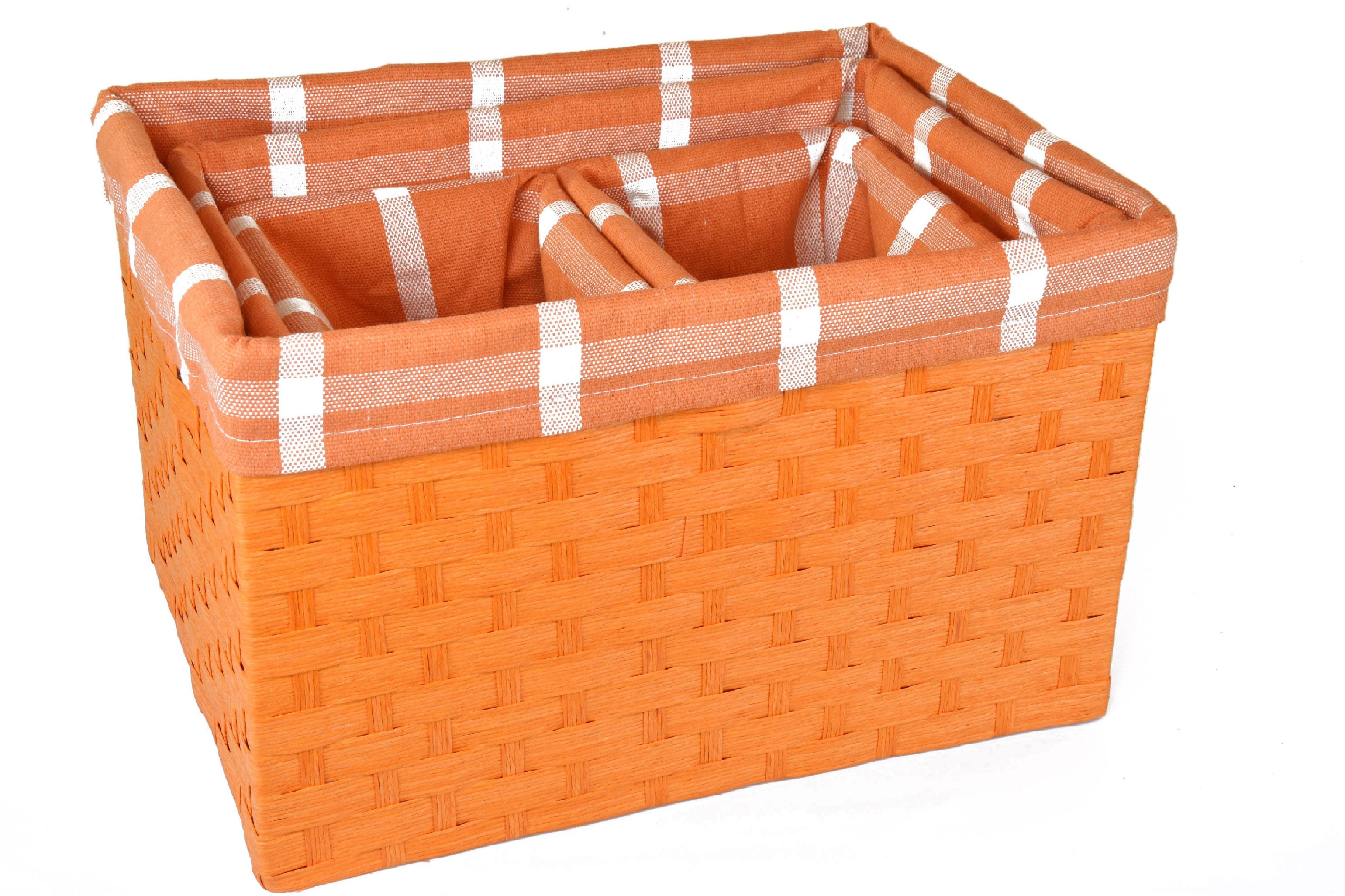 Úložný box oranžový rozměry boxu (cm): Sada 40x30x25,5|35x26x23,5|22x16x22,5|22x16x22,5