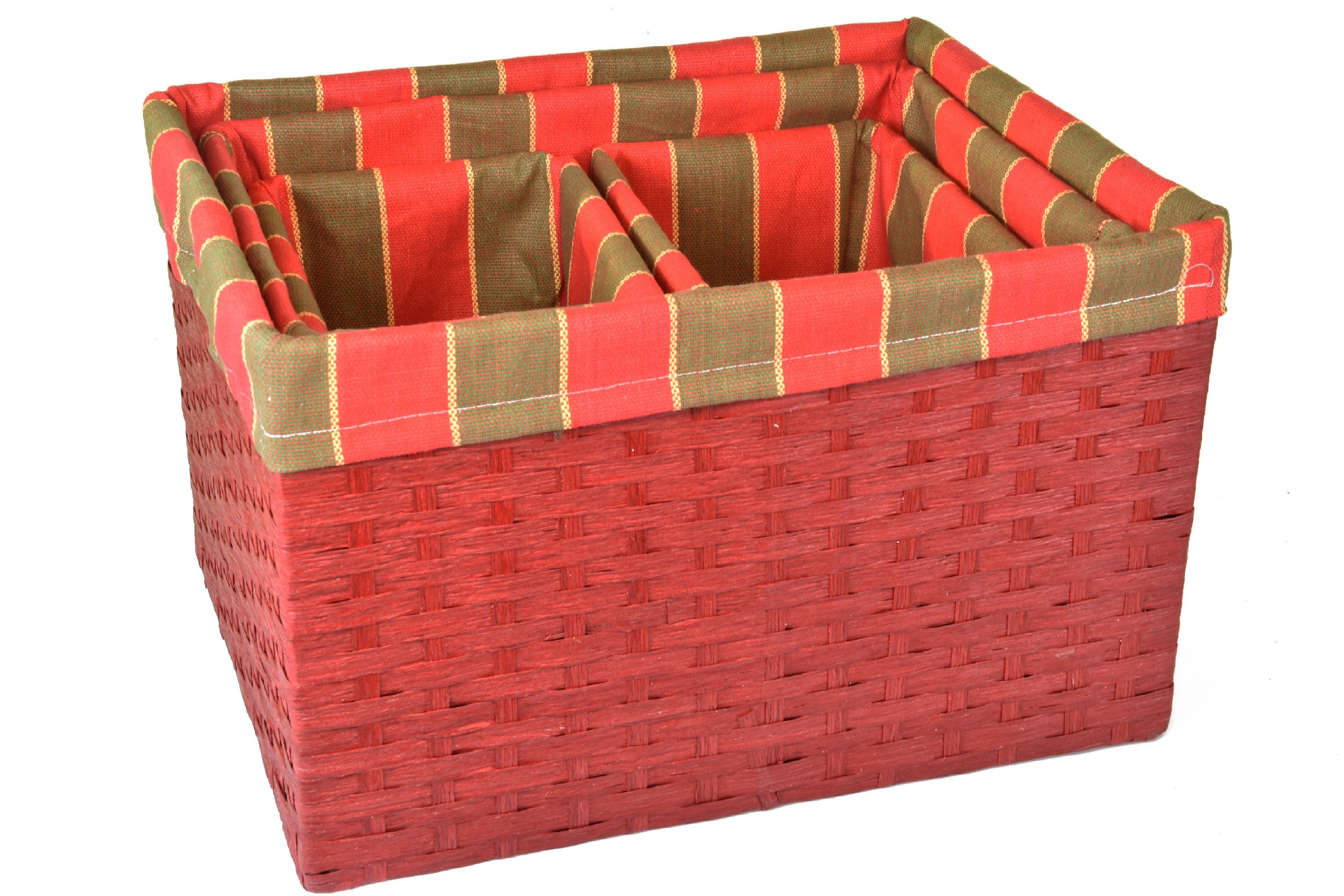 Úložný box červený rozměry boxu (cm): Sada 40x30x25,5|35x26x23,5|22x16x22,5|22x16x22,5