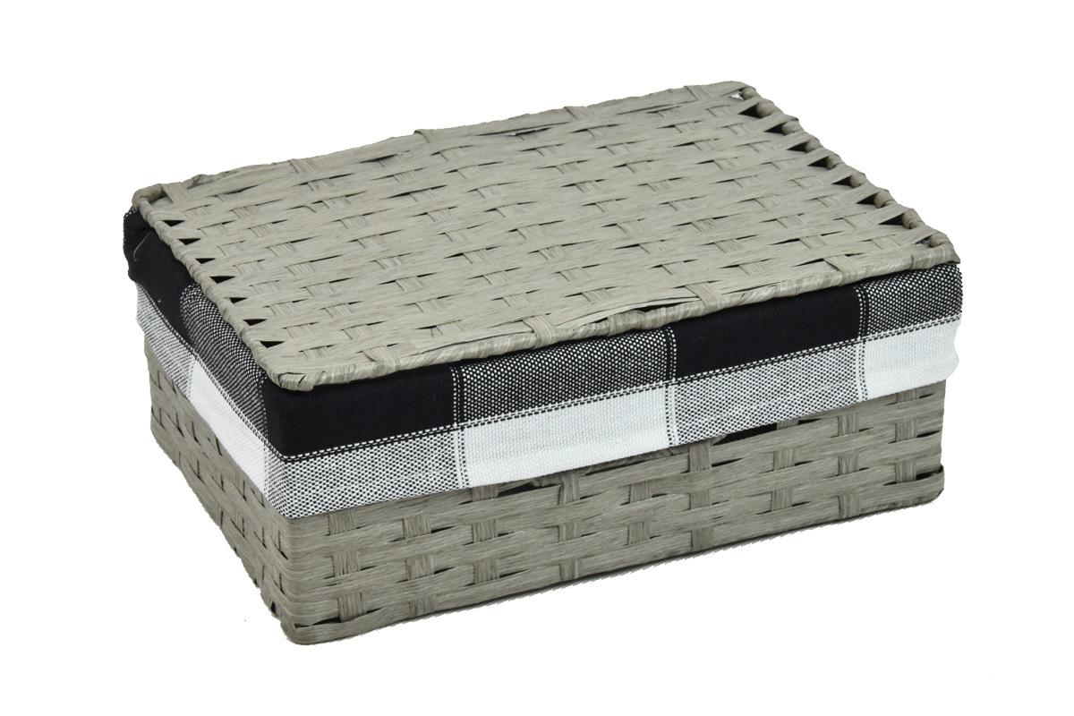 Úložný box s víkem šedý Rozměry (cm): 40x27, v. 15