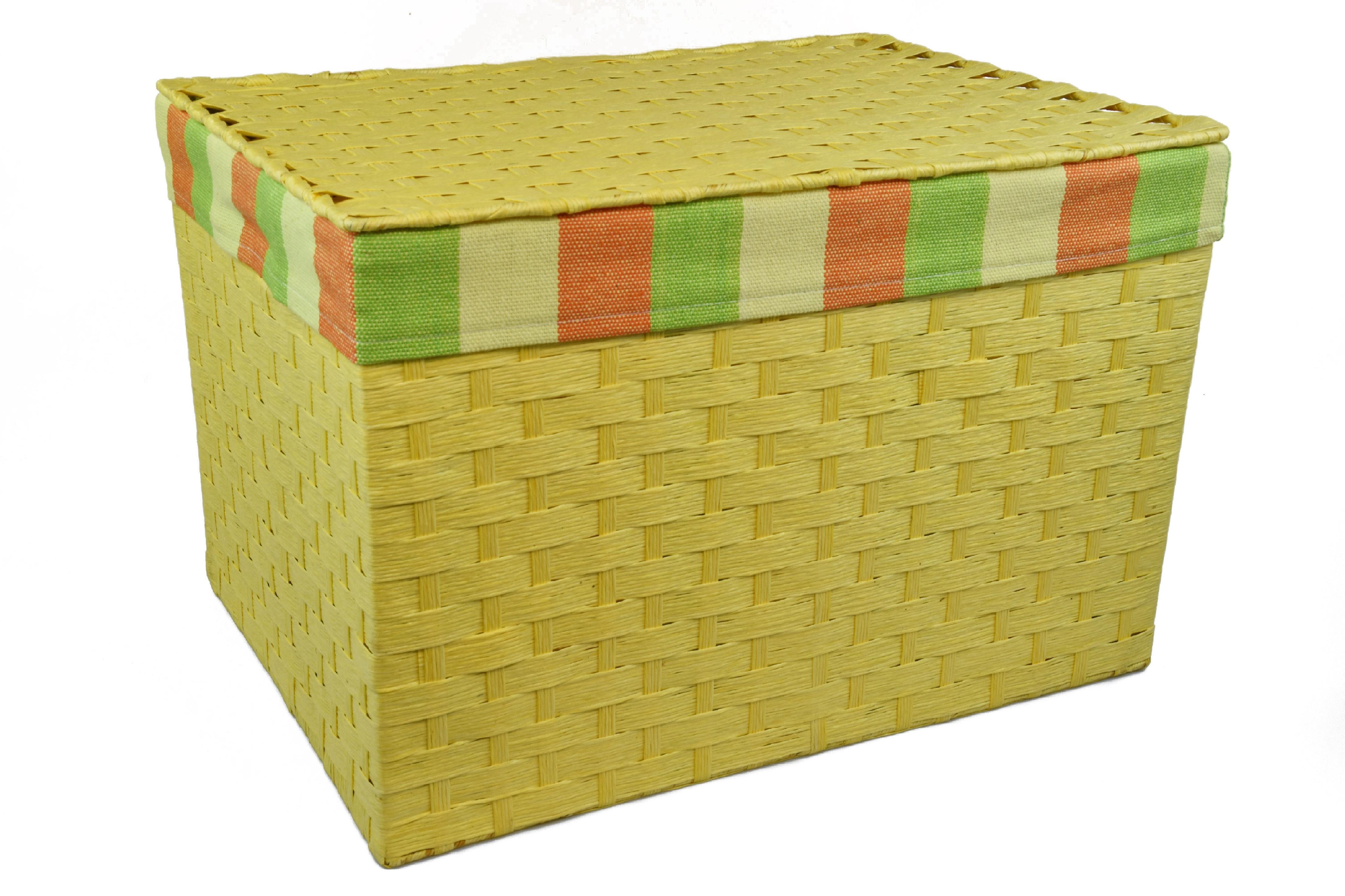 Úložný box s víkem žlutý rozměry boxu (cm): 40x29, v. 28