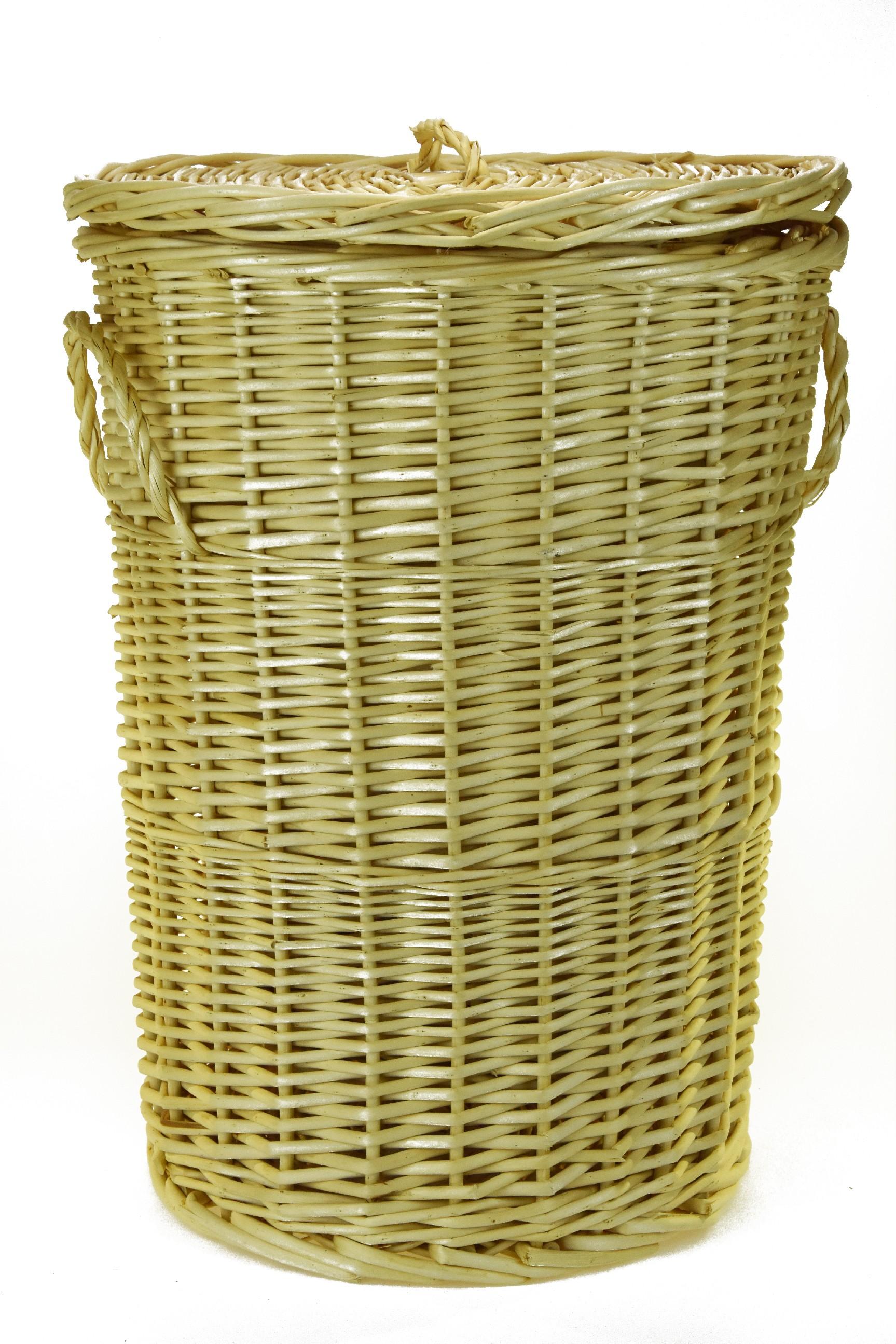 Kulatý proutěný koš na prádlo Rozměry (cm): průměr 34, v. 49