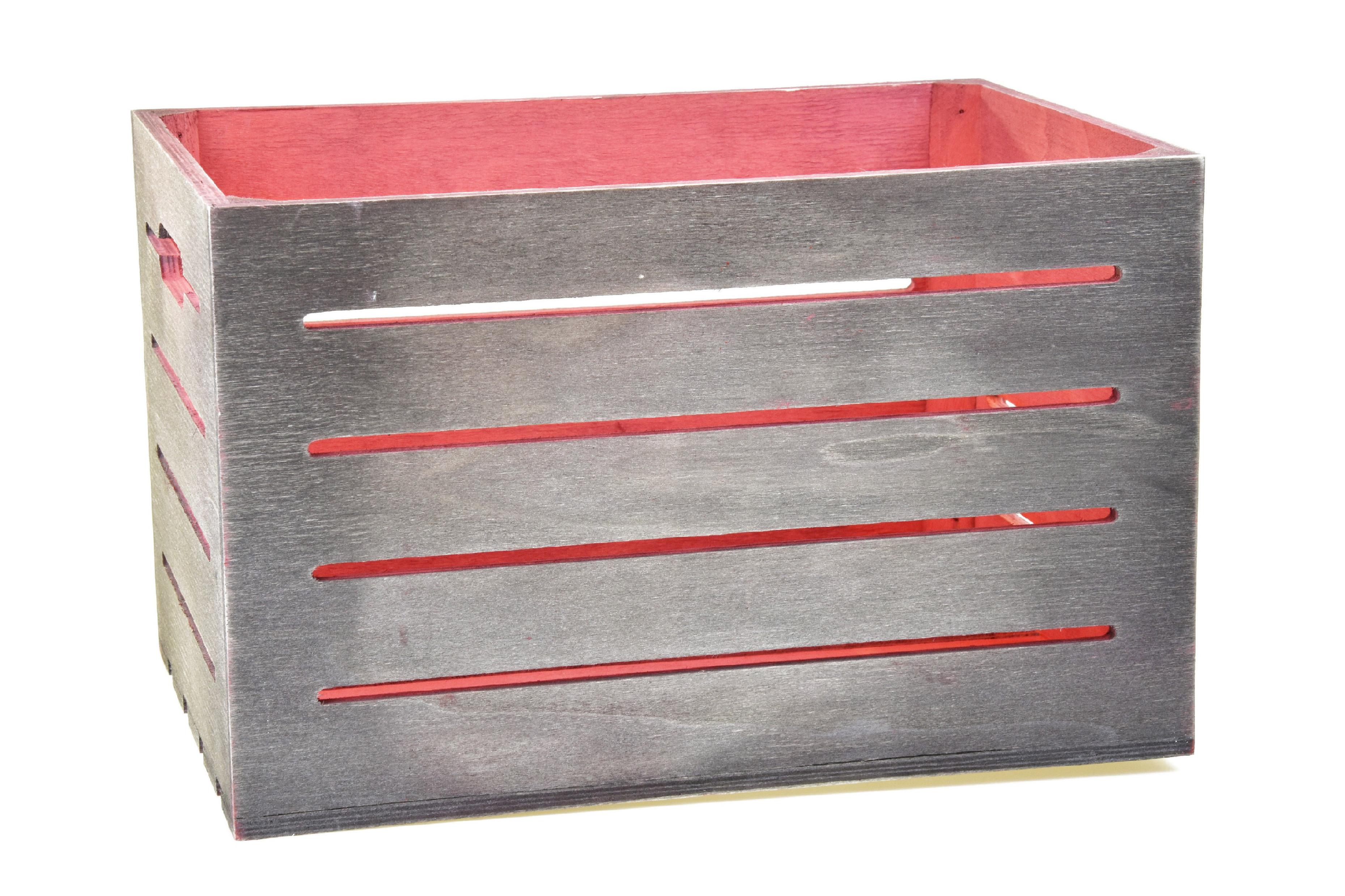 Dřevěná bedýnka šedo-červená Rozměry: 40x30x24