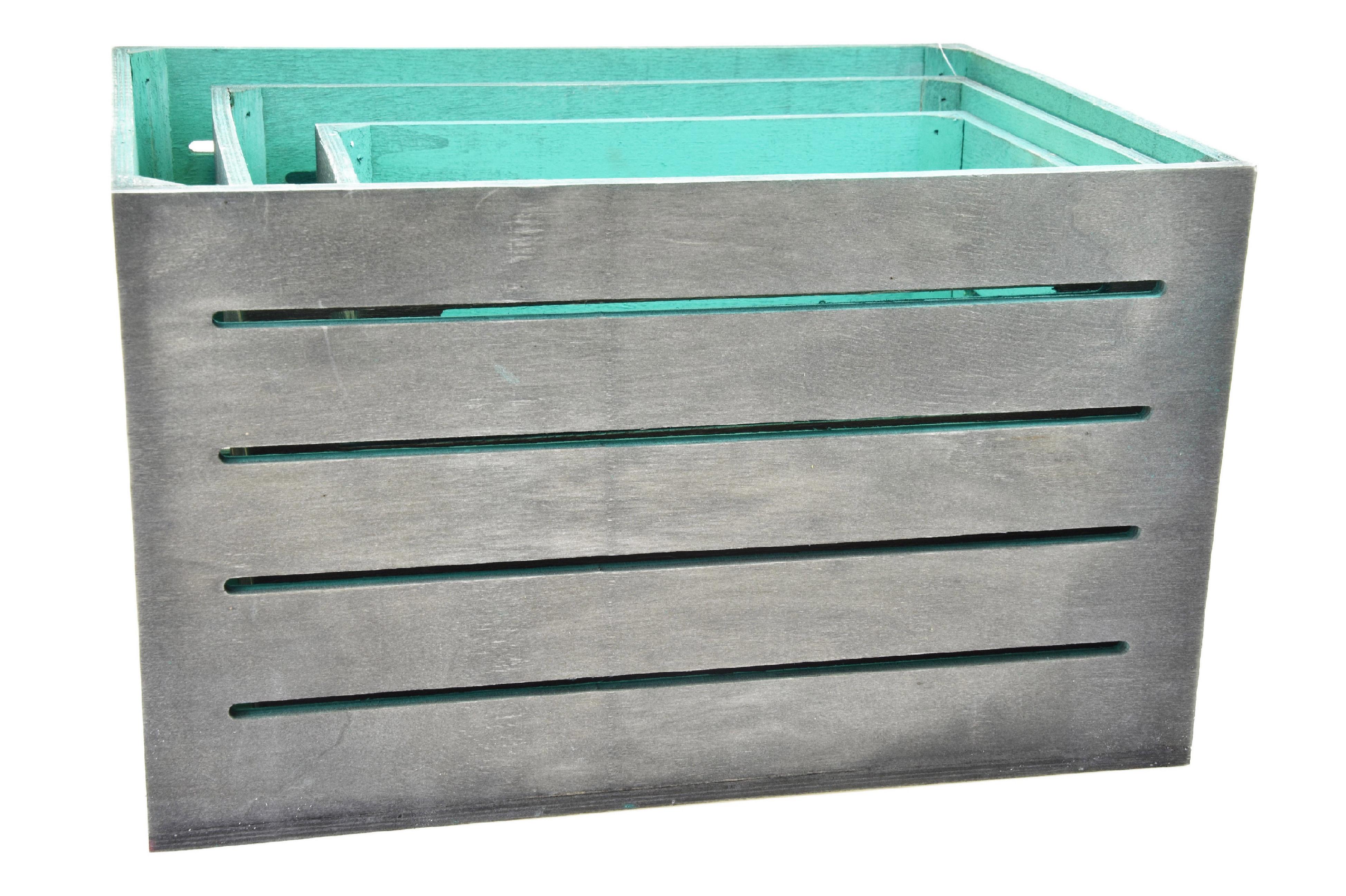 Dřevěná bedýnka šedo-zelená Rozměry: 40x30x24