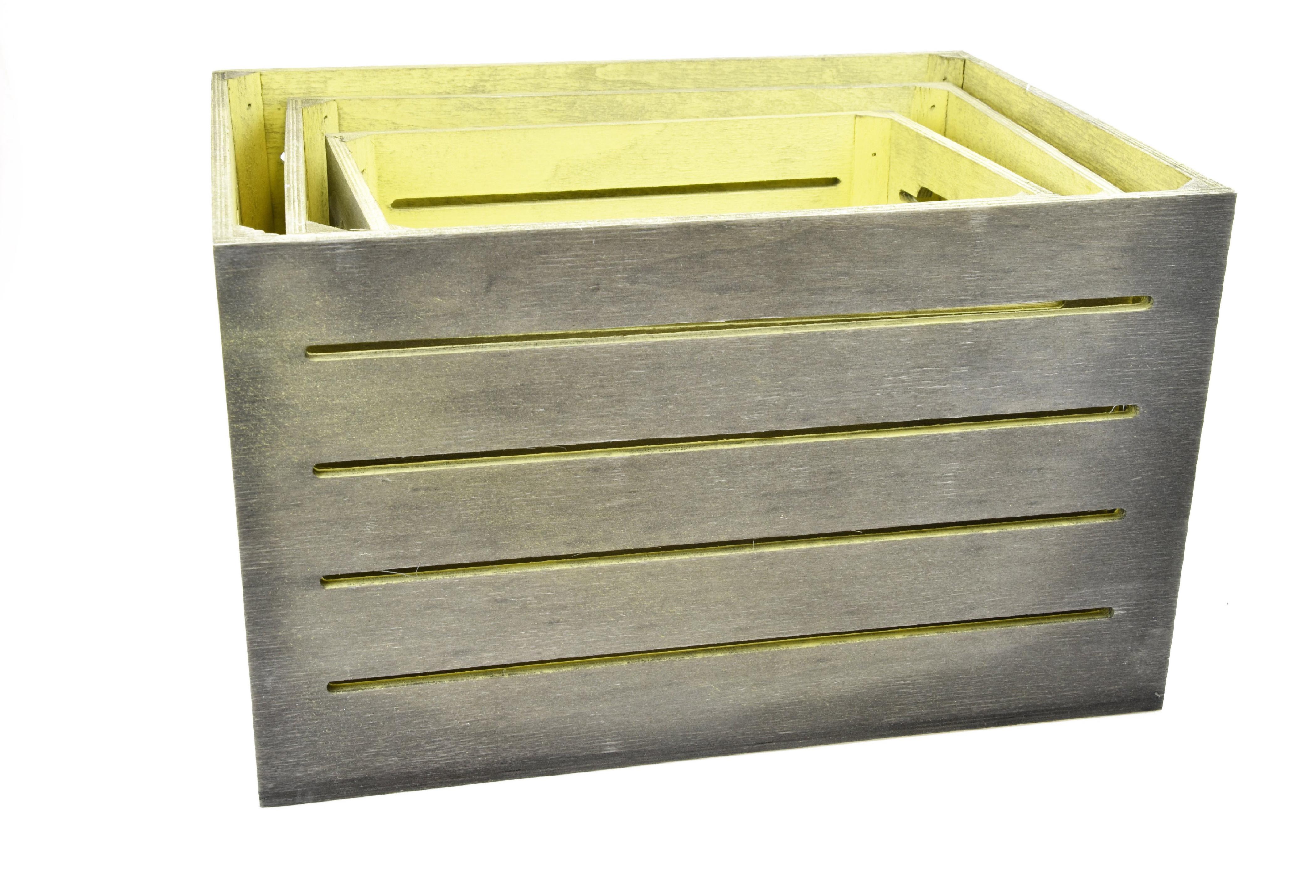 Dřevěná bedýnka šedo-žlutá Rozměry: 40x30x24