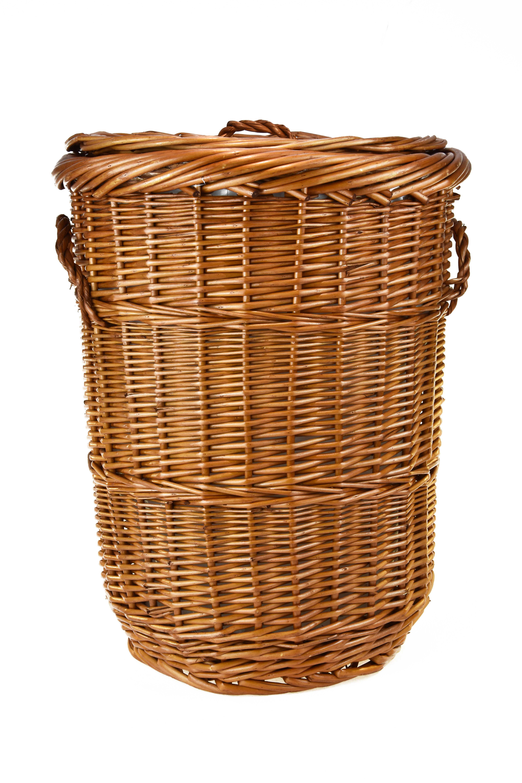 Kulatý proutěný prádelní koš s látkou Rozměry (cm): průměr 30, v. 40
