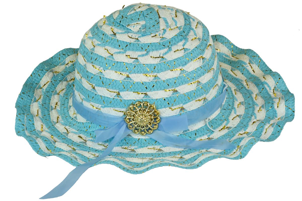 Slaměný klobouk modro-bílý