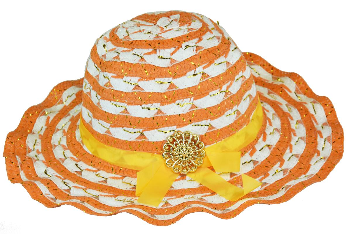 Slaměný klobouk oranžovo-bílý