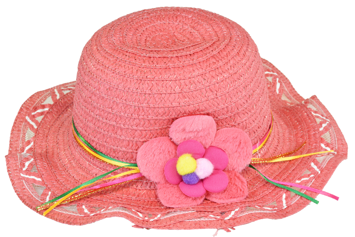 Slaměný klobouk lososový s květinou