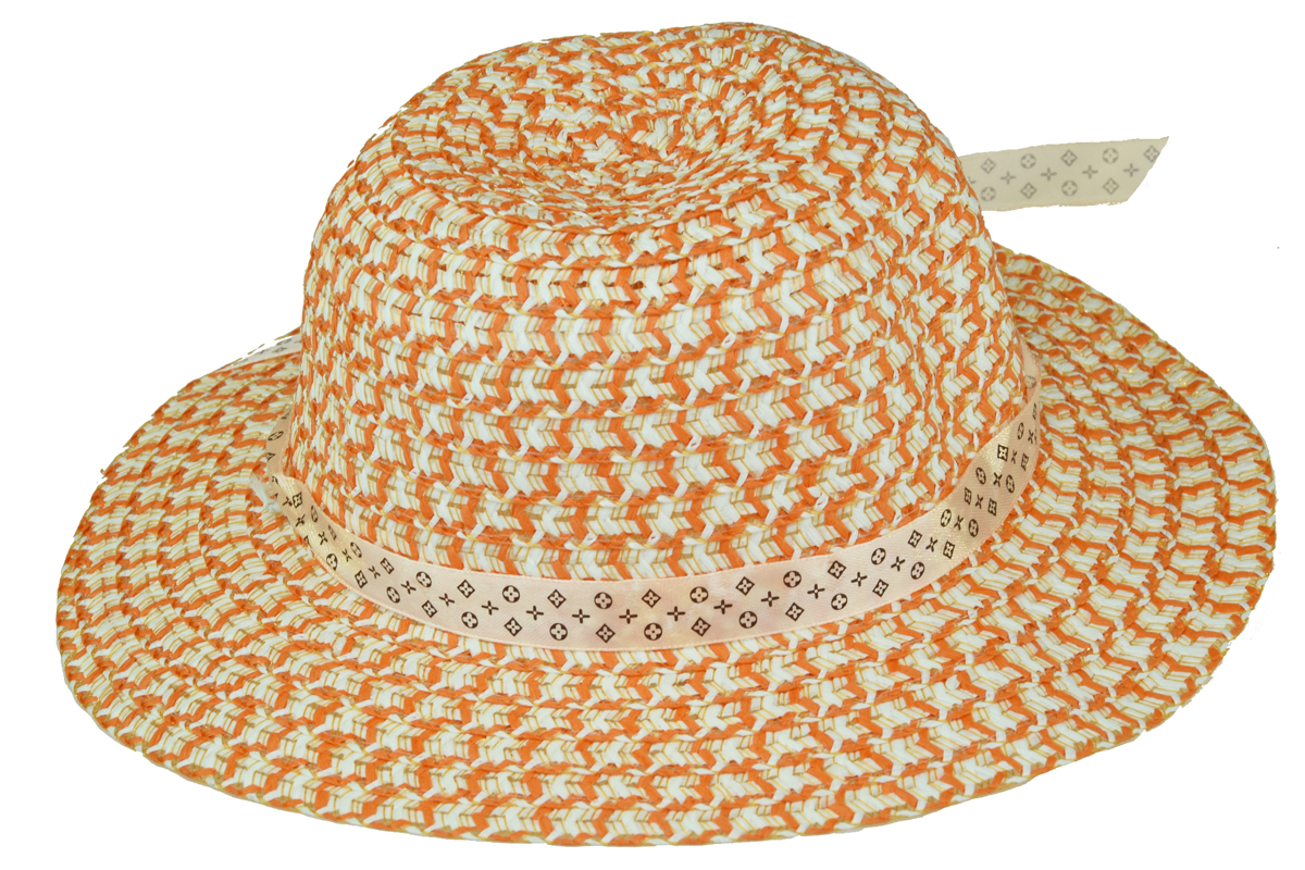 Slaměný klobouk oranžovo-bílý s květinou