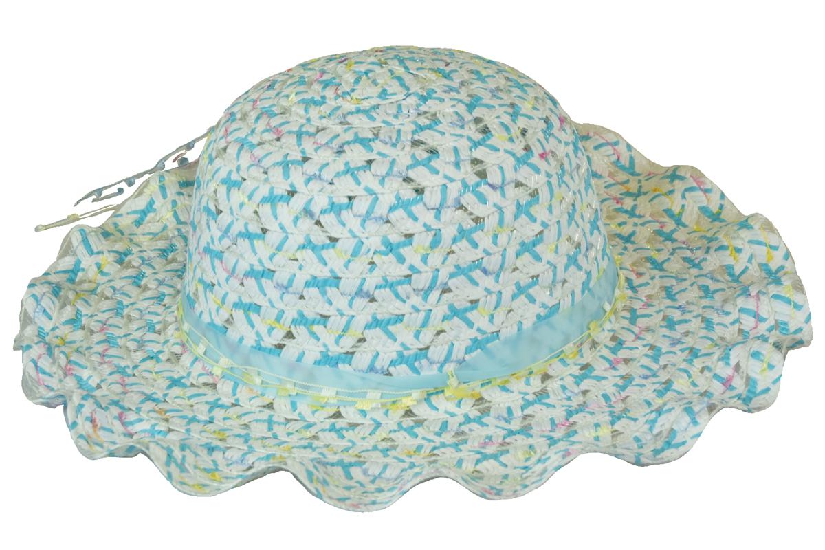 Slaměný klobouk modrý s mašlí