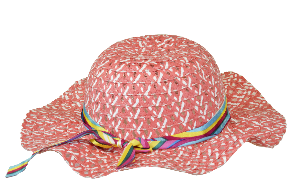 Slaměný klobouk lososový se stuhou
