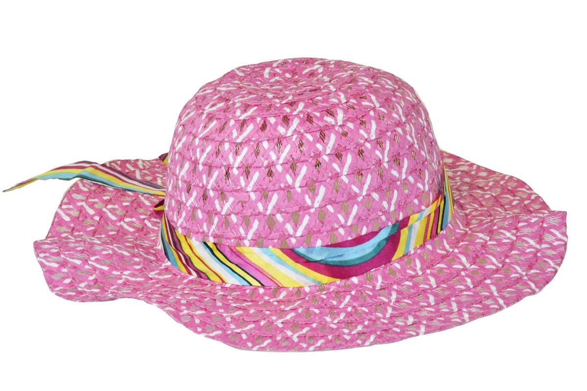 Slaměný klobouk růžový se stuhou