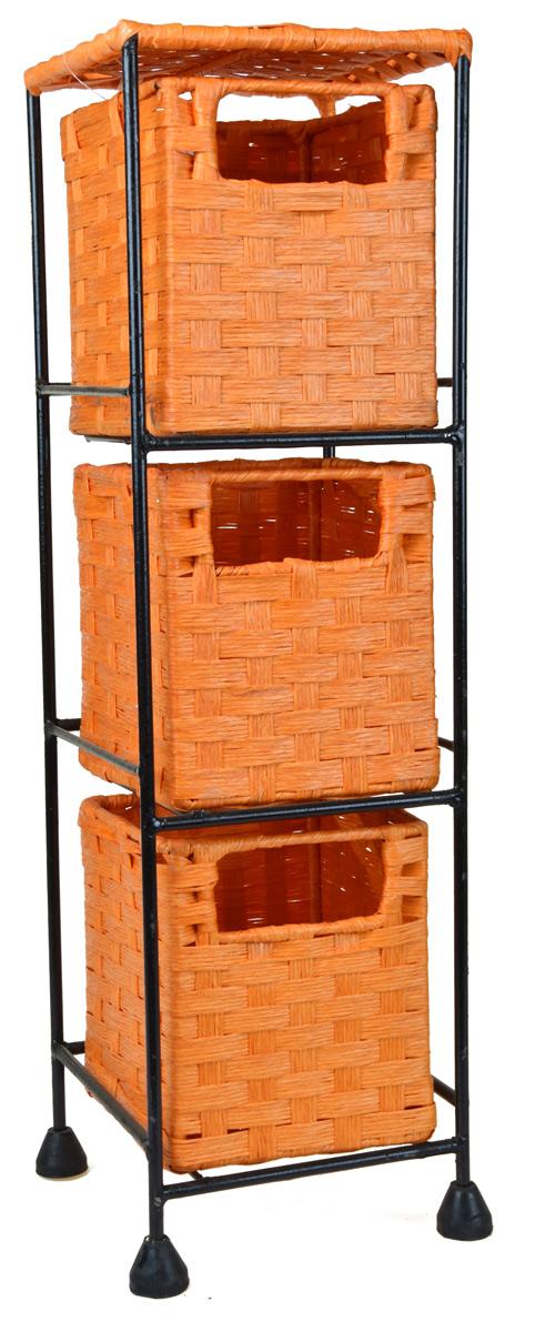Drátěná police s vloženými oranžovými boxíky